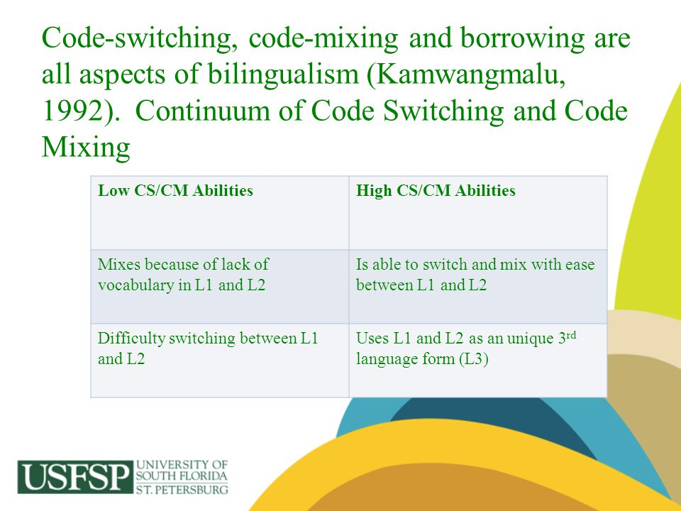 Code-switching, code-mixing and borrowing are all aspects of bilingualism (Kamwangmalu, 1992). Continuum of Code Switching and Code Mixing