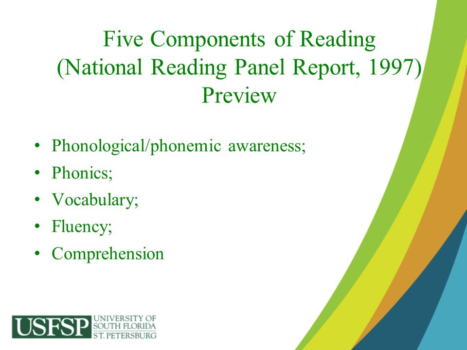 Five Components of Reading (National Reading Panel Report, 1997) Preview
