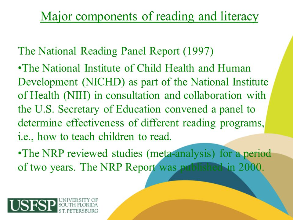 Major components of reading and literacy