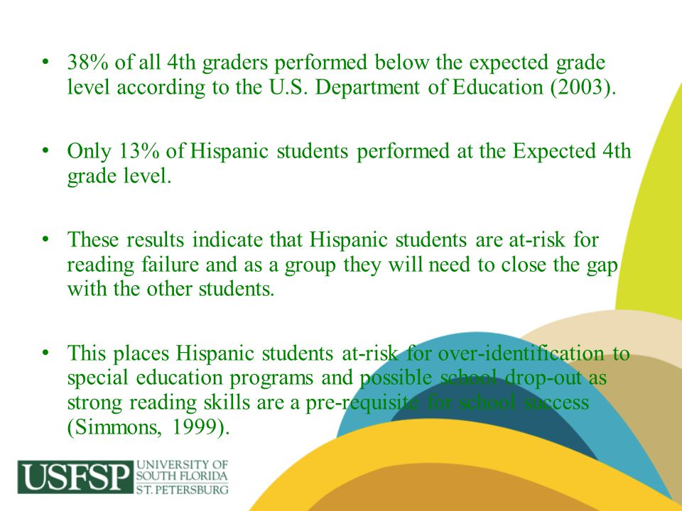 38% of all 4th graders performed below the expected grade level according to the U.S. Department of Education (2003).