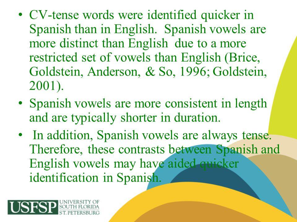 CV-tense words were identified quicker in Spanish than in English
