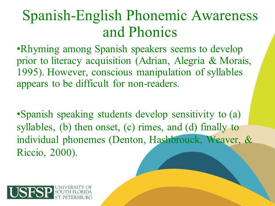 Spanish-English Phonemic Awareness and Phonics