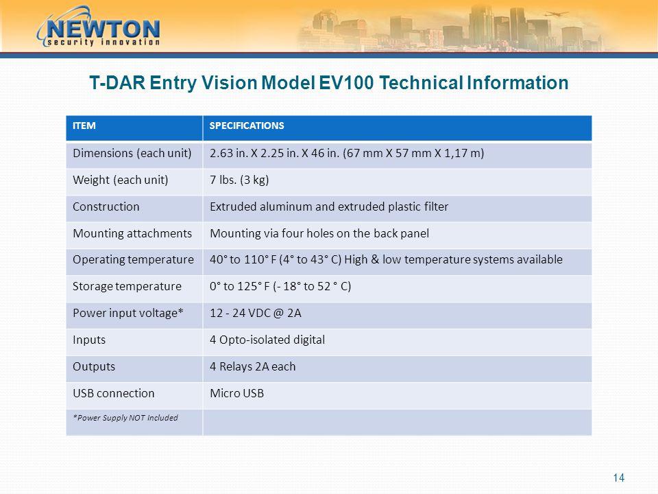 T-DAR Entry Vision Model EV100 Technical Information