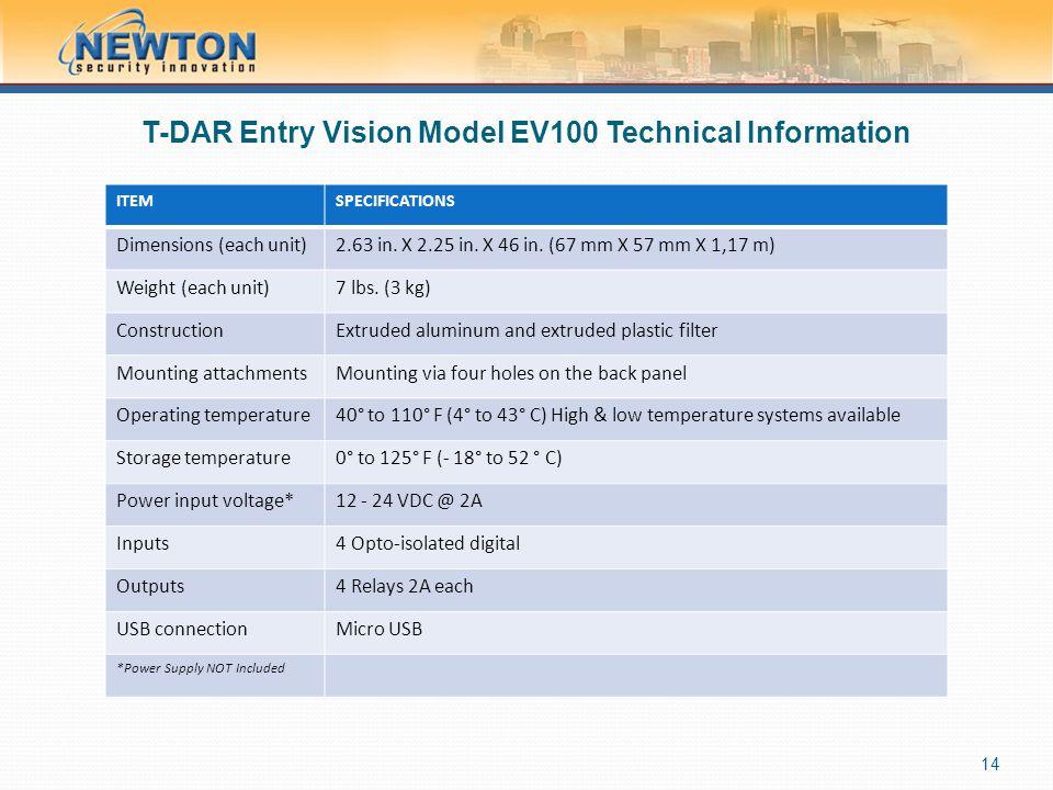 T-DAR Entry Vision Model EV100 Technical Information
