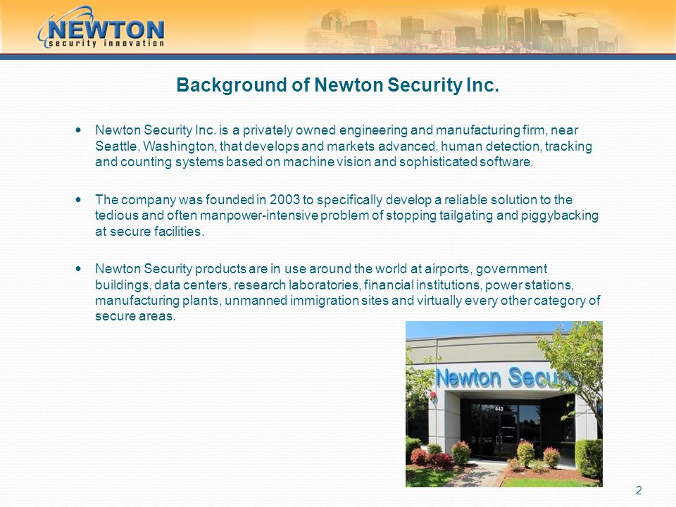 Background of Newton Security Inc.