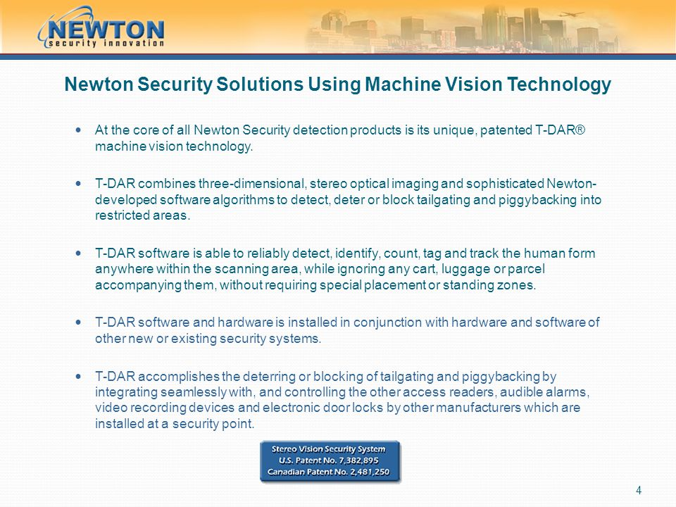 Newton Security Solutions Using Machine Vision Technology