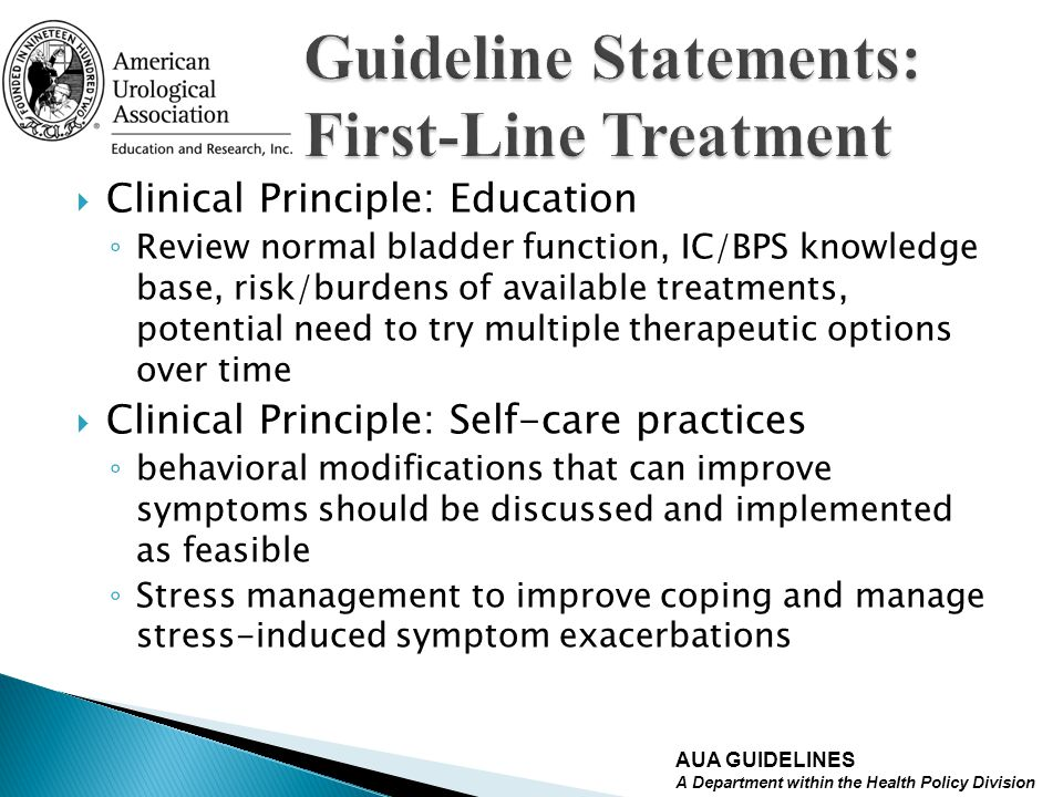 Guideline Statements: First-Line Treatment