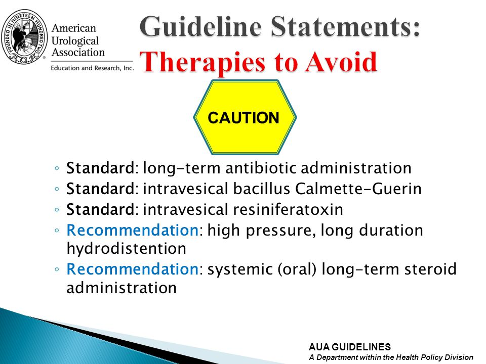 Guideline Statements: Therapies to Avoid