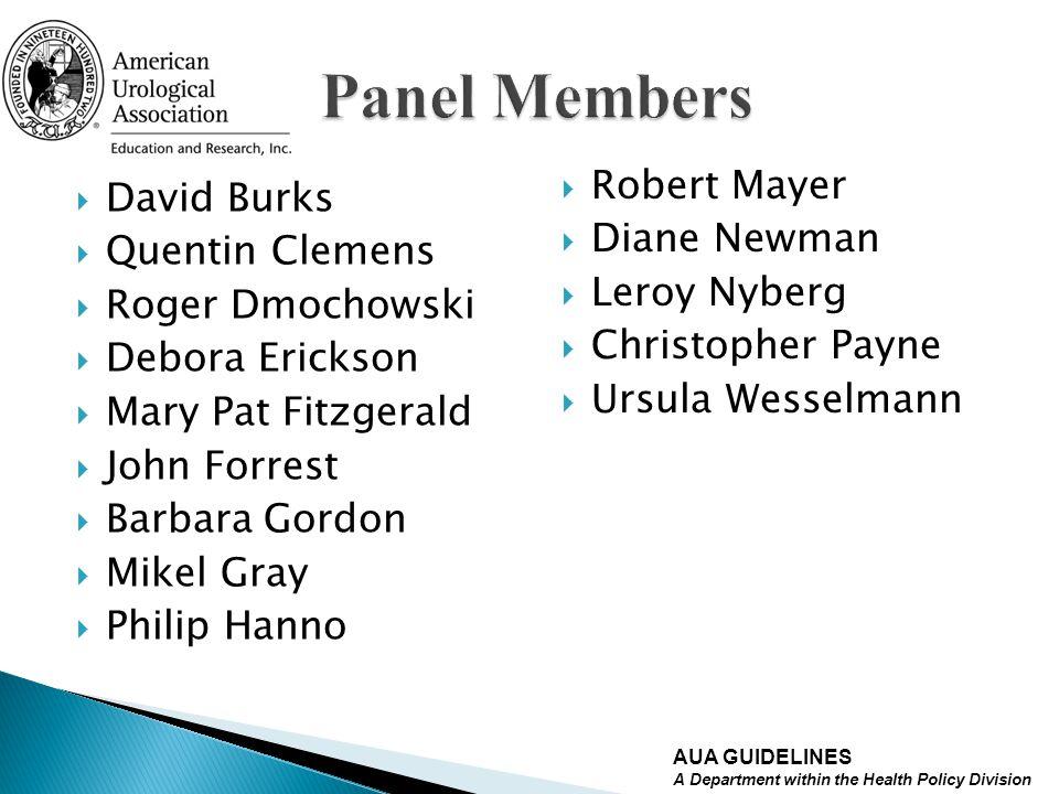 Panel Members Robert Mayer David Burks Diane Newman Quentin Clemens