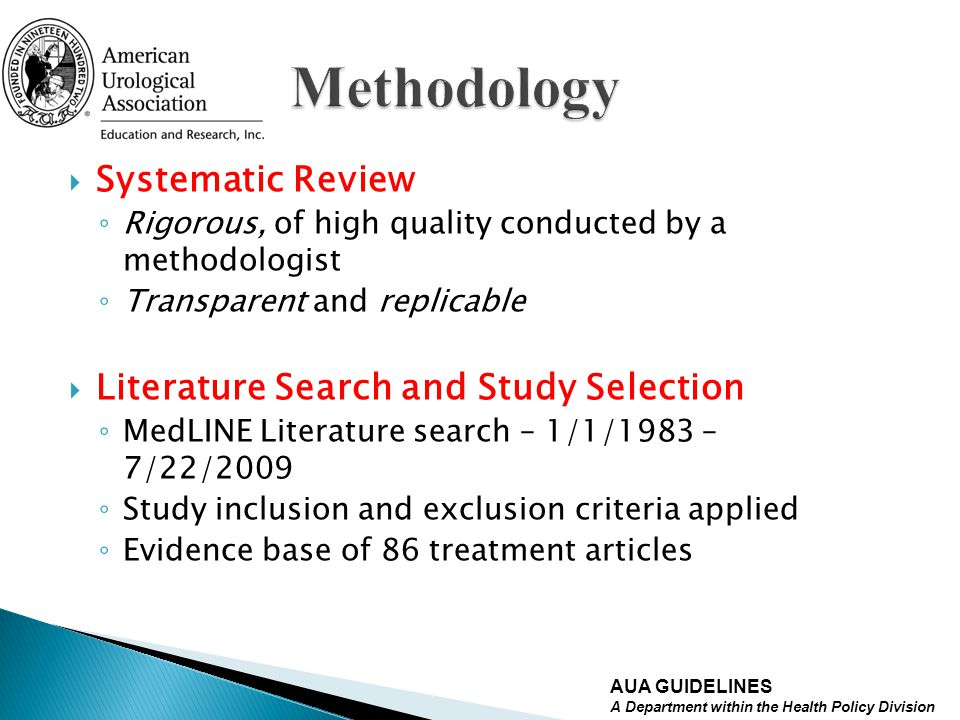 Methodology Systematic Review Literature Search and Study Selection