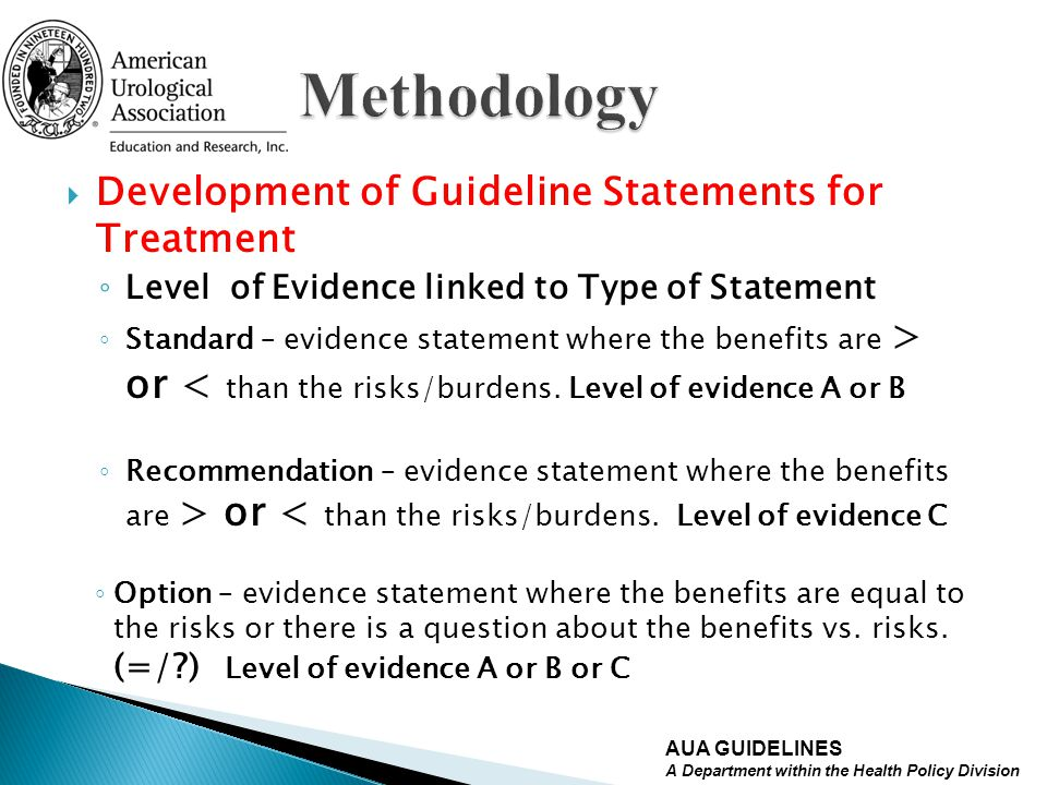 Methodology Development of Guideline Statements for Treatment