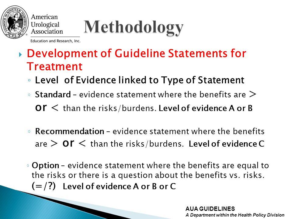 Methodology Development of Guideline Statements for Treatment