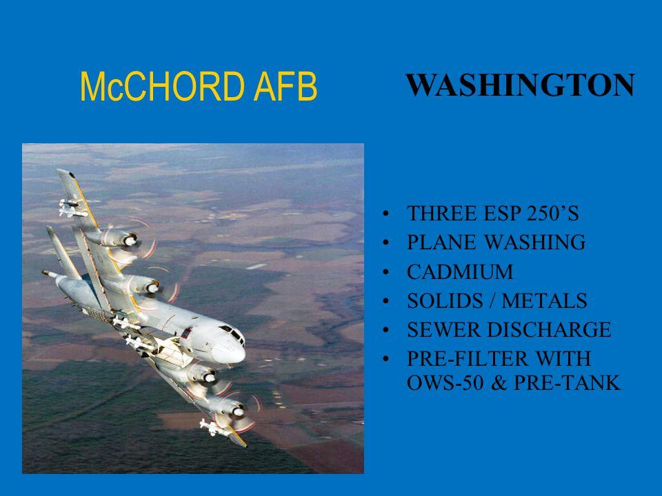 McCHORD AFB WASHINGTON THREE ESP 250'S PLANE WASHING CADMIUM