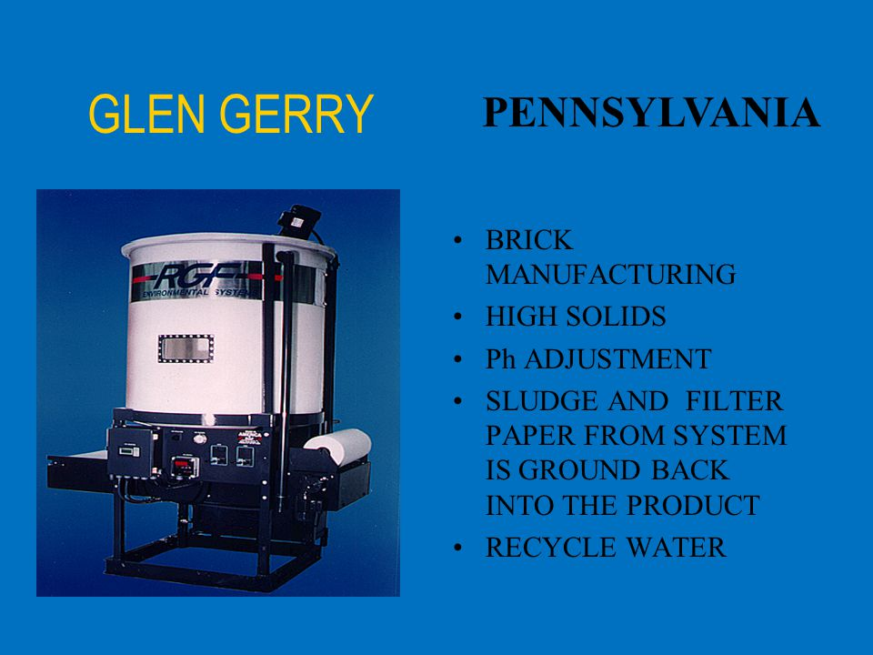 GLEN GERRY PENNSYLVANIA BRICK MANUFACTURING HIGH SOLIDS Ph ADJUSTMENT