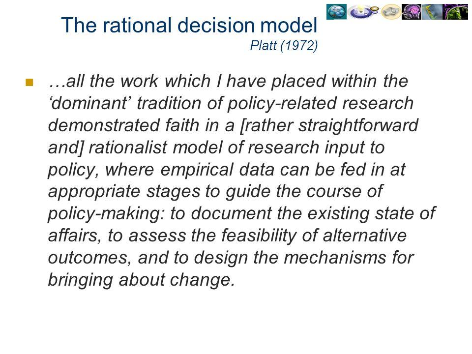 The rational decision model Platt (1972)
