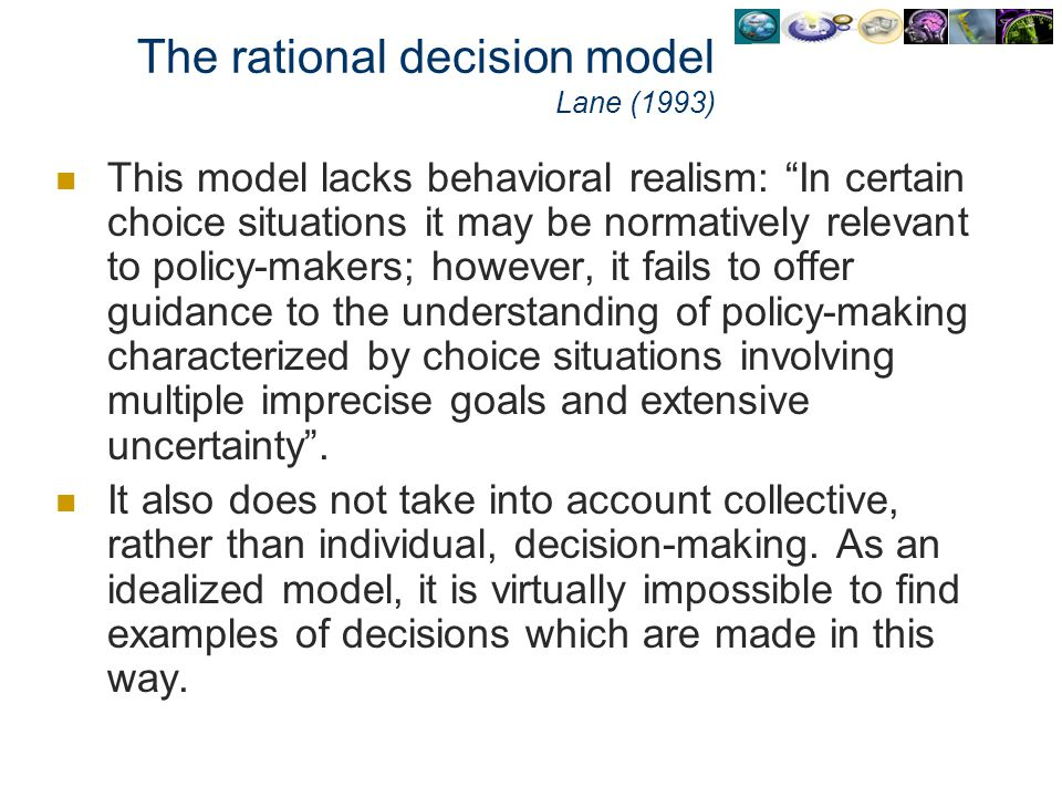 The rational decision model Lane (1993)