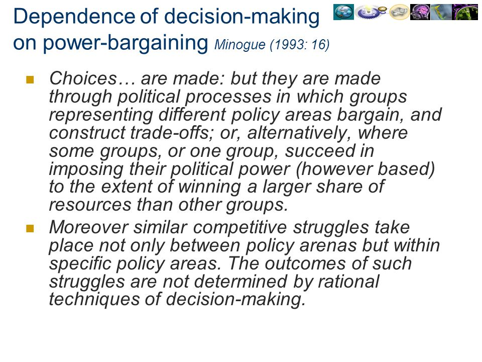 Dependence of decision-making on power-bargaining Minogue (1993: 16)