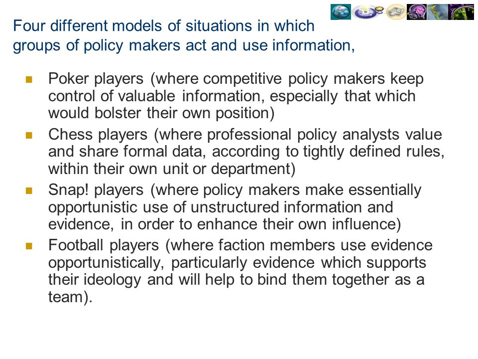 Four different models of situations in which groups of policy makers act and use information,