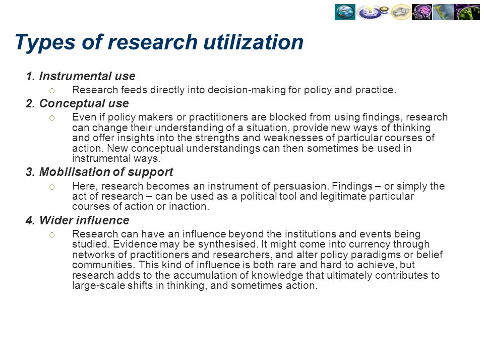 Types of research utilization