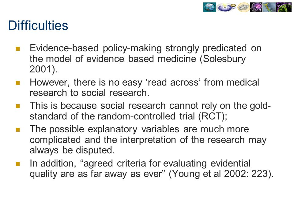 Difficulties Evidence-based policy-making strongly predicated on the model of evidence based medicine (Solesbury 2001).
