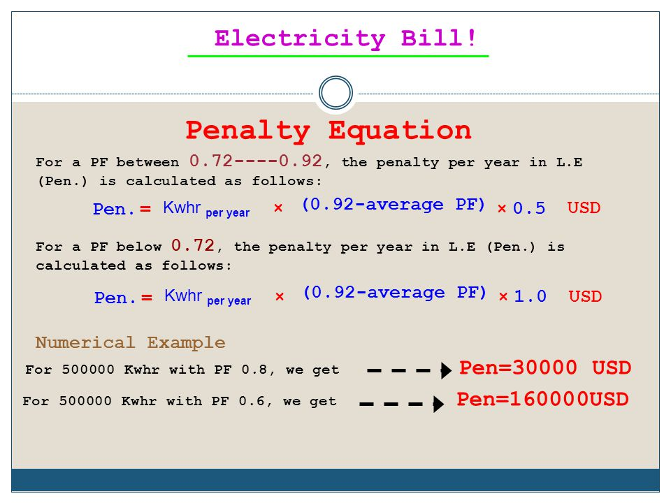 Penalty Equation Electricity Bill! Pen=30000 USD Pen=160000USD