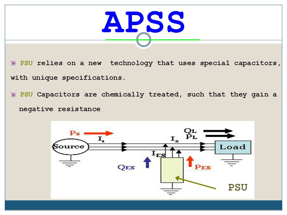 APSS PSU relies on a new technology that uses special capacitors, with unique specifications.