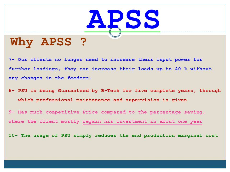 APSS Why APSS