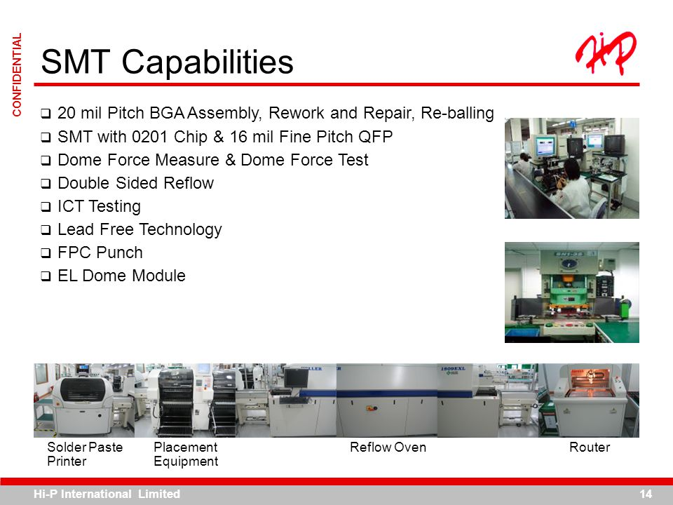 SMT Capabilities 20 mil Pitch BGA Assembly, Rework and Repair, Re-balling. SMT with 0201 Chip & 16 mil Fine Pitch QFP.
