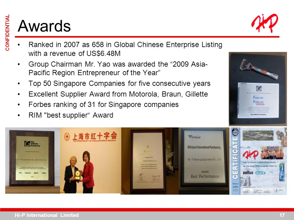 Awards Ranked in 2007 as 658 in Global Chinese Enterprise Listing with a revenue of US$6.48M.