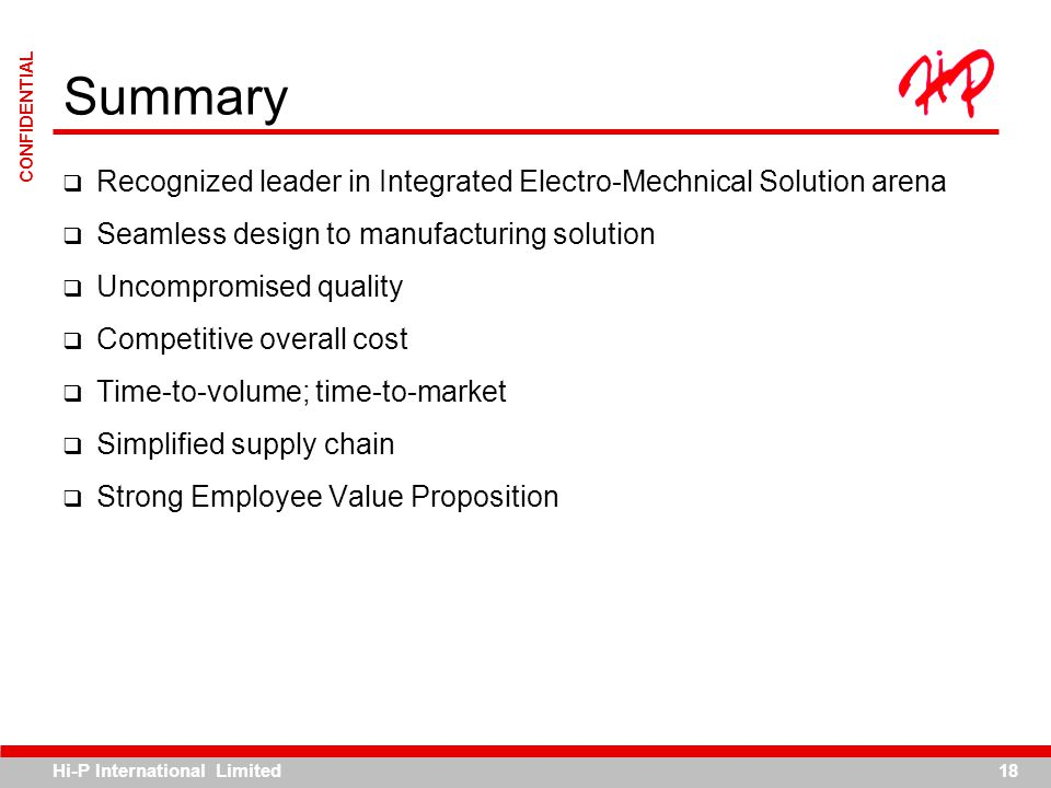 Summary Recognized leader in Integrated Electro-Mechnical Solution arena. Seamless design to manufacturing solution.