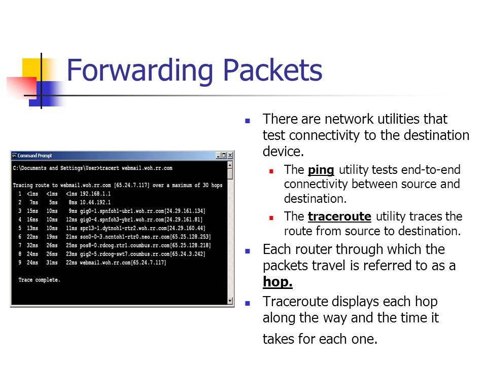Forwarding Packets There are network utilities that test connectivity to the destination device.