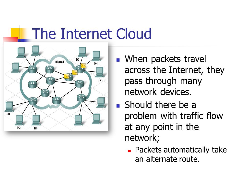 The Internet Cloud When packets travel across the Internet, they pass through many network devices.