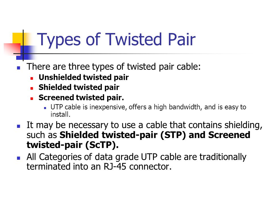 Types of Twisted Pair There are three types of twisted pair cable:
