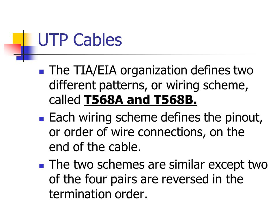 UTP Cables The TIA/EIA organization defines two different patterns, or wiring scheme, called T568A and T568B.