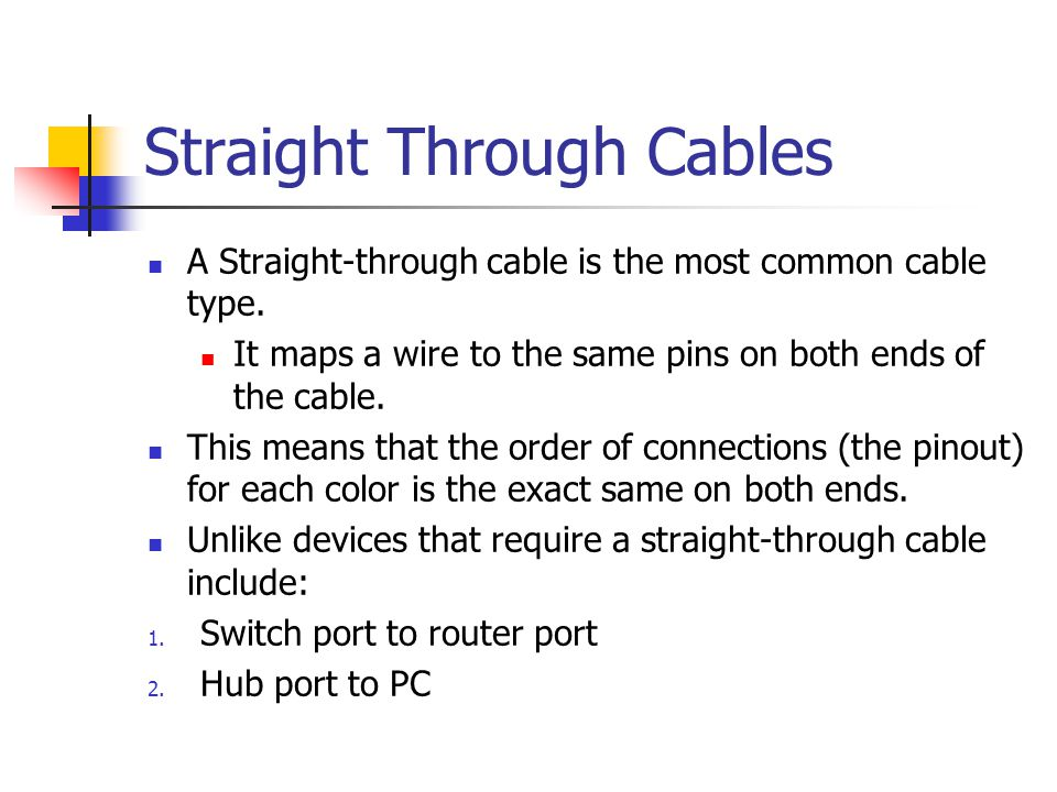 Straight Through Cables