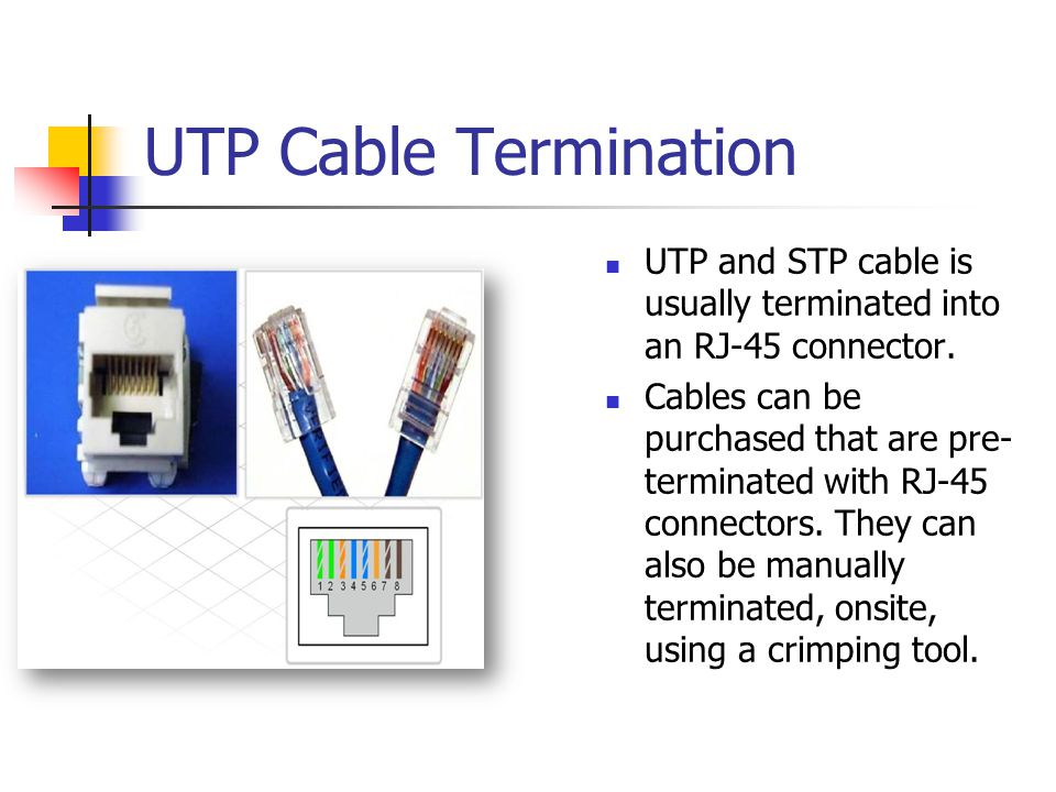 UTP Cable Termination UTP and STP cable is usually terminated into an RJ-45 connector.