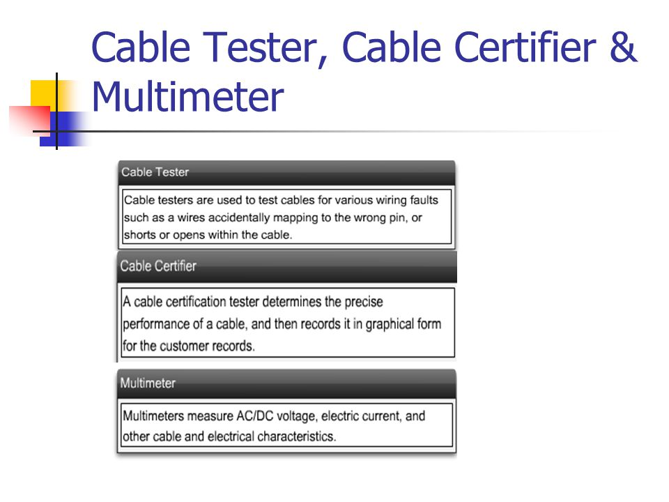 Cable Tester, Cable Certifier & Multimeter