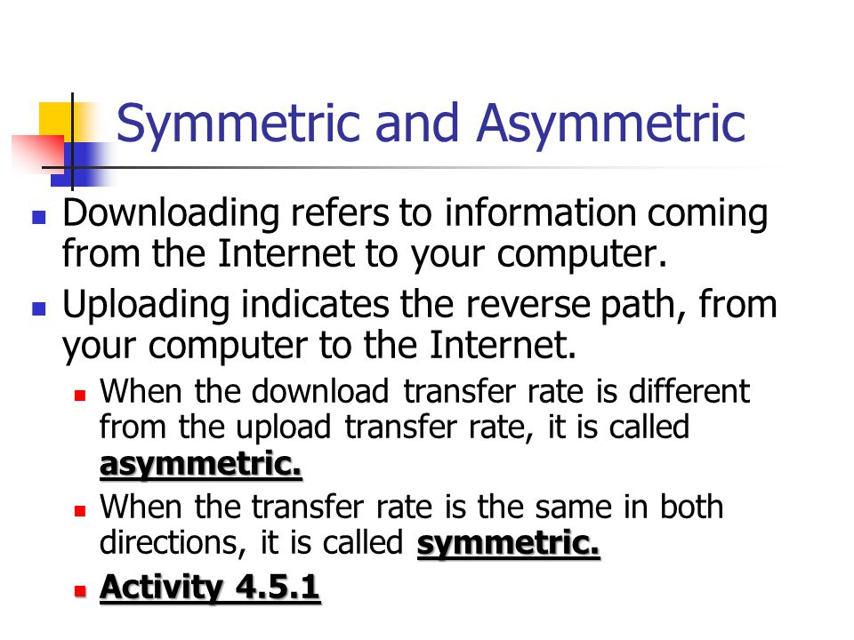 Symmetric and Asymmetric