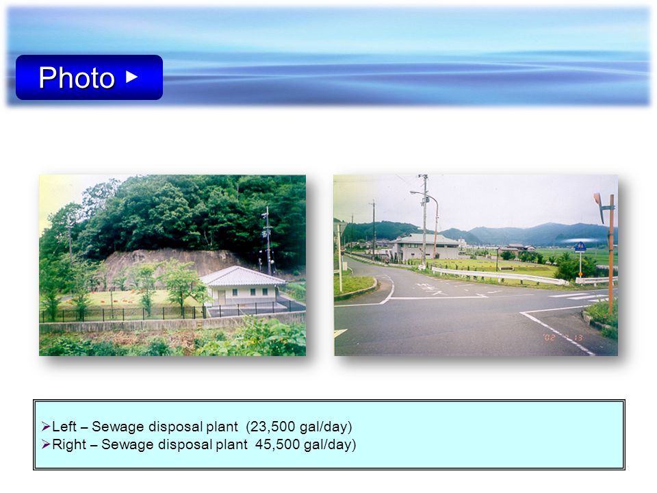 Photo ▶ Left – Sewage disposal plant (23,500 gal/day)