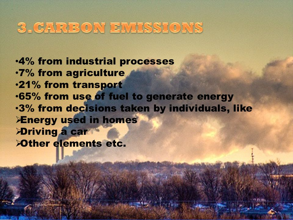 3.CARBON EMISSIONS 4% from industrial processes 7% from agriculture