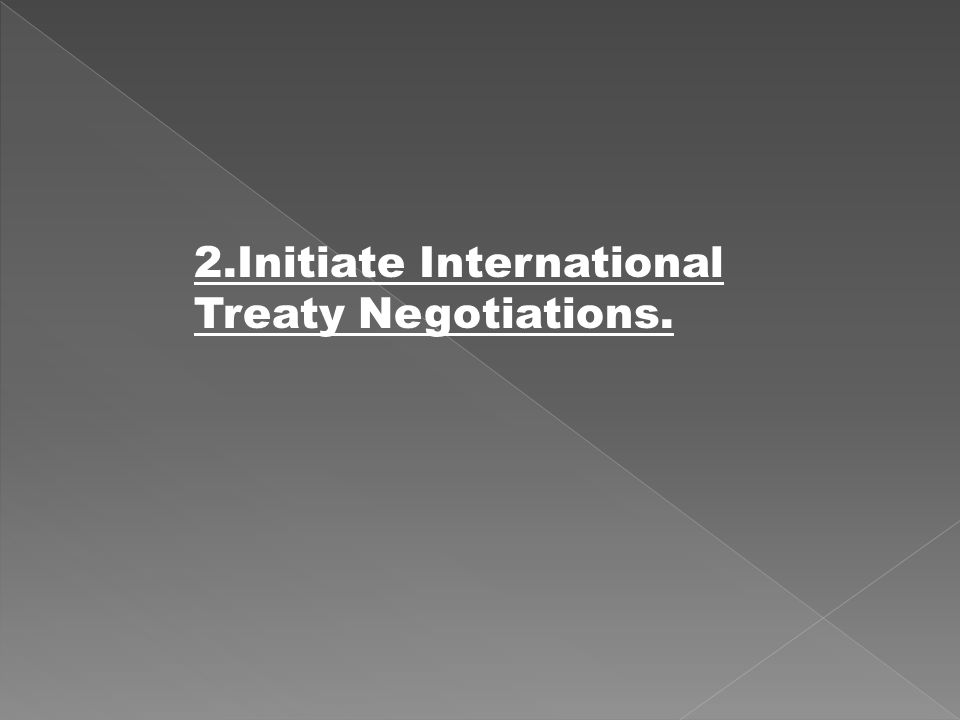 2.Initiate International Treaty Negotiations.