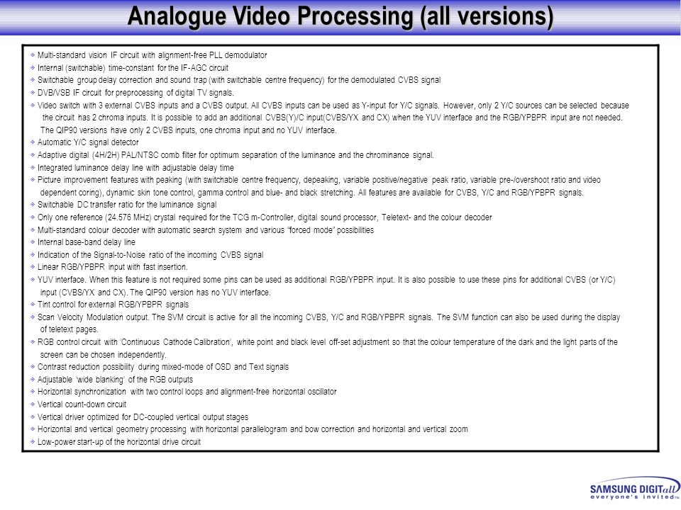 Analogue Video Processing (all versions)
