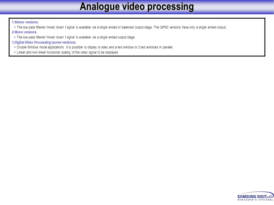 Analogue video processing