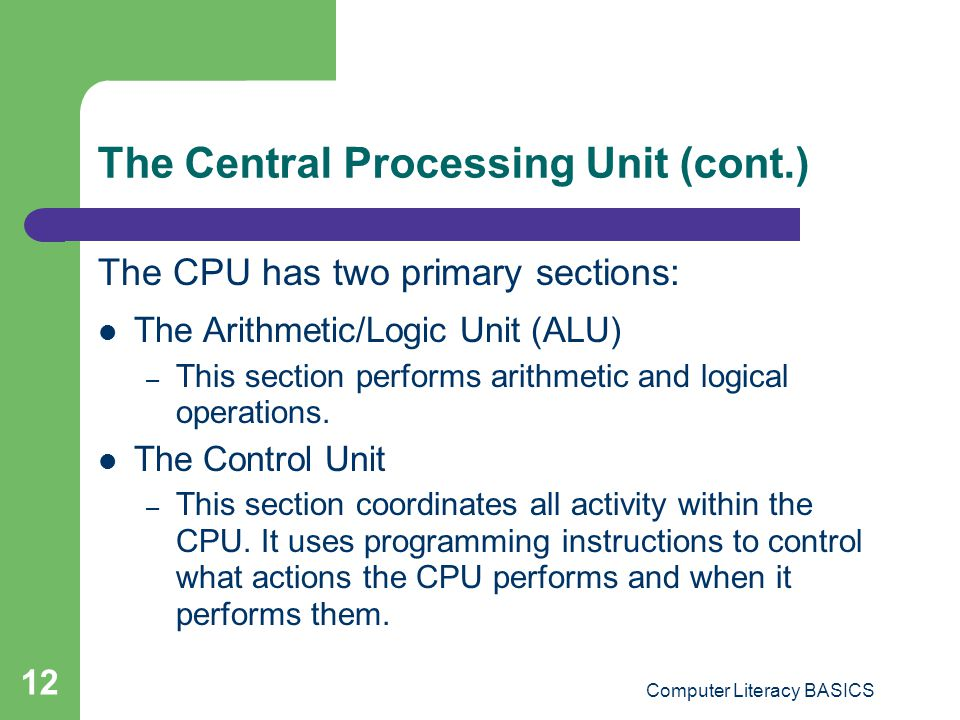 The Central Processing Unit (cont.)