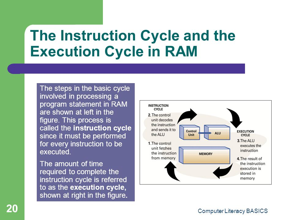 The Instruction Cycle and the Execution Cycle in RAM