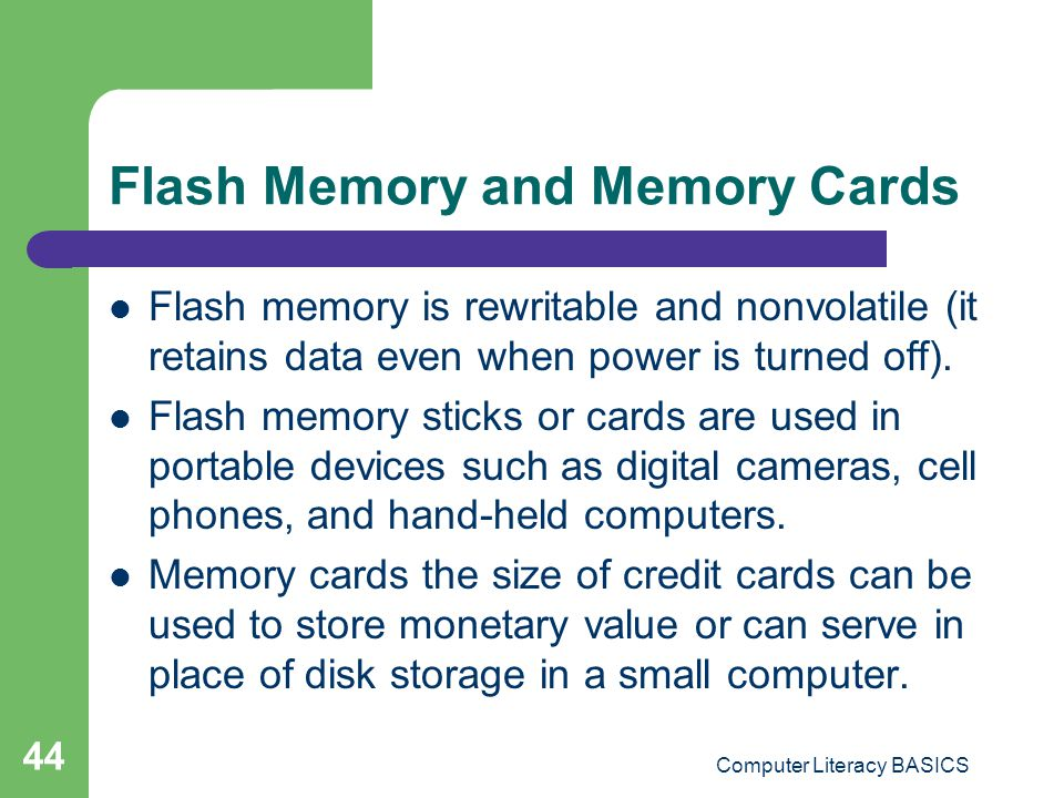 Flash Memory and Memory Cards