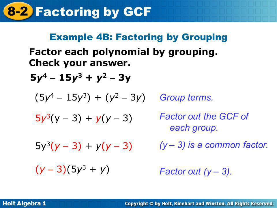 Example 4B: Factoring by Grouping