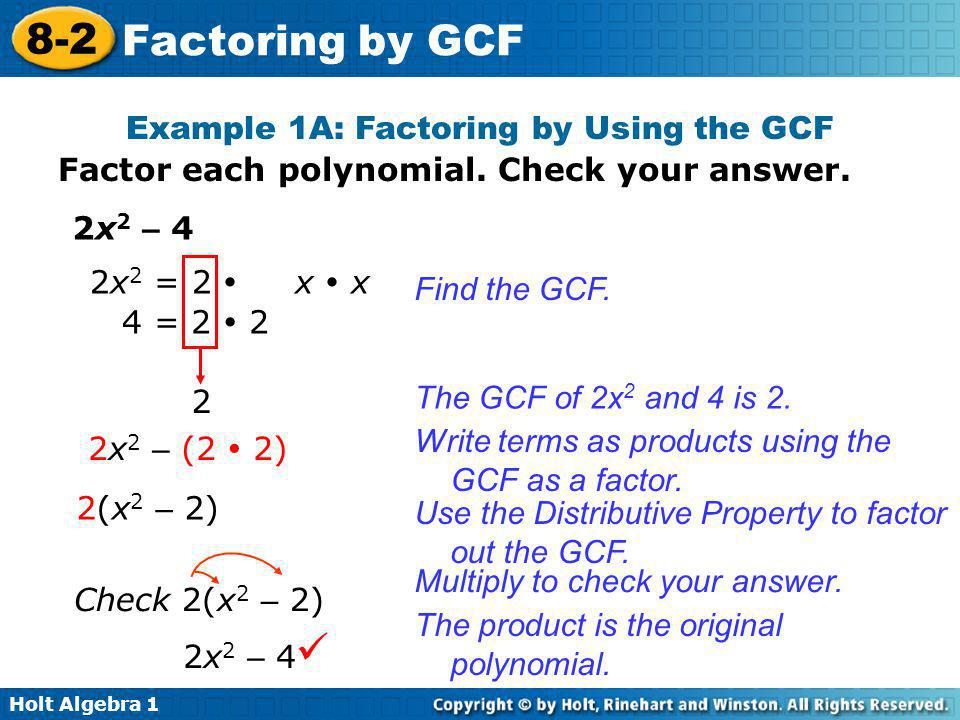 Example 1A: Factoring by Using the GCF