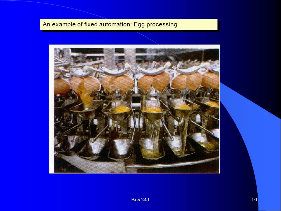 An example of fixed automation: Egg processing