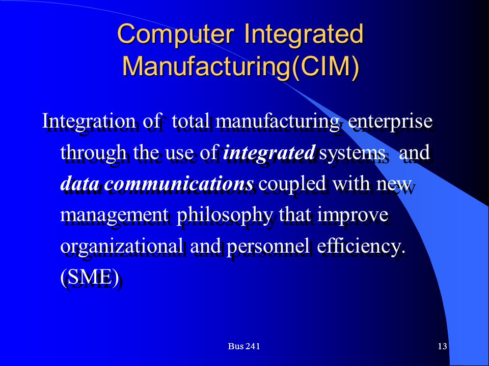 Computer Integrated Manufacturing(CIM)